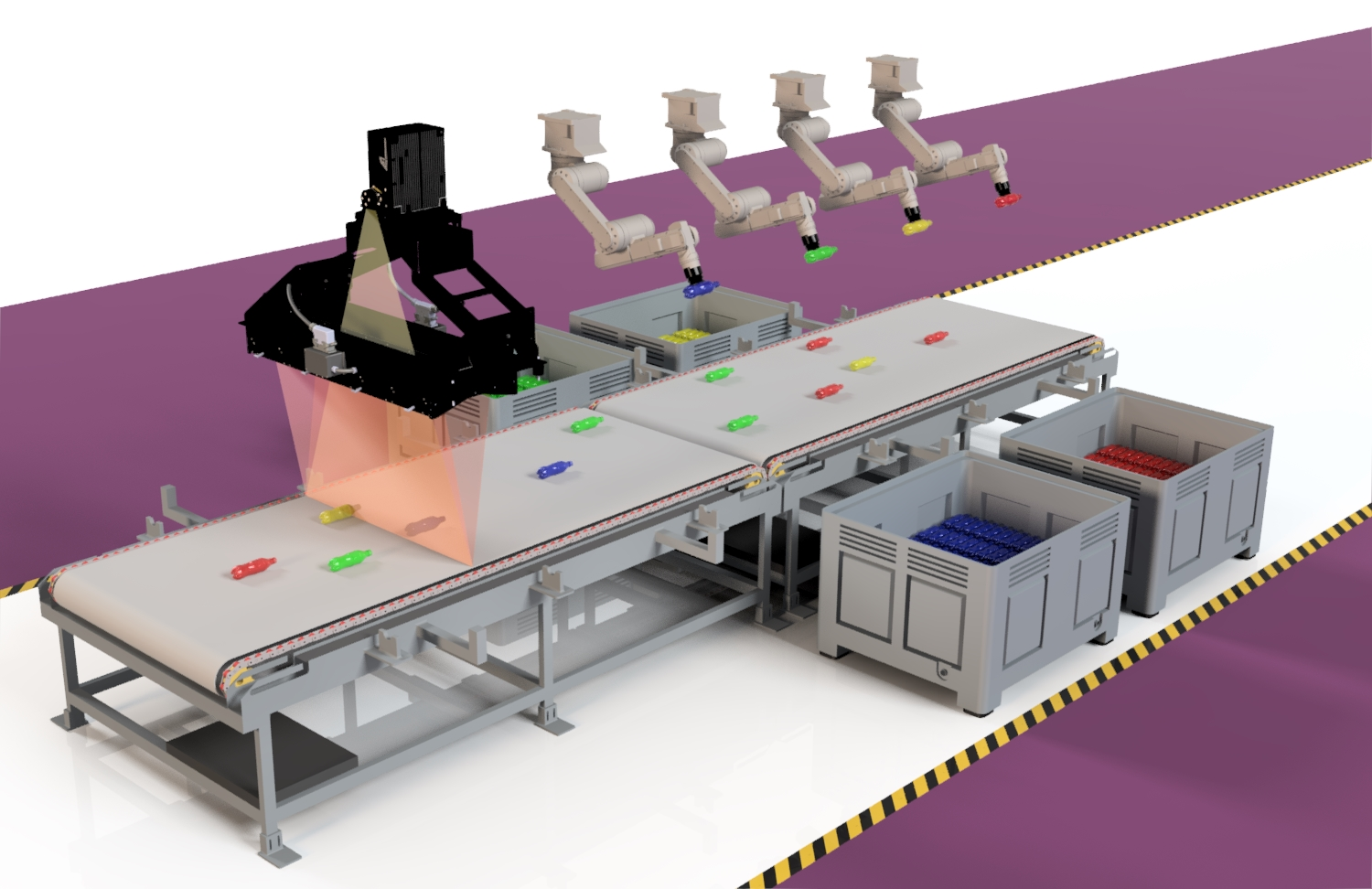 Schematic illustration of a sorting plant with KUSTAx.xMSI and robotic arm sorting